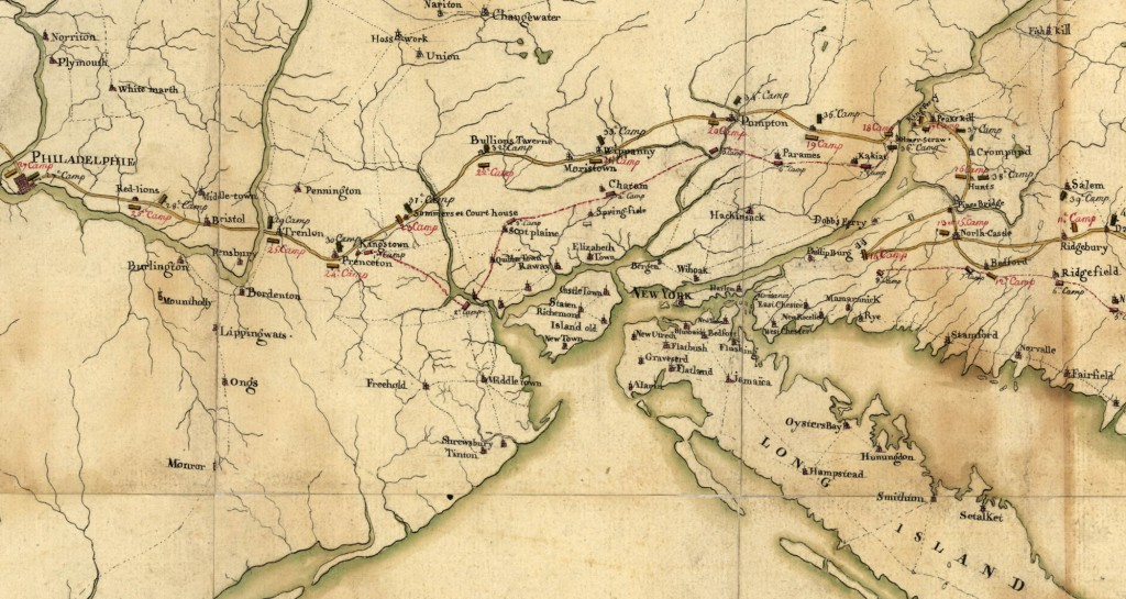 A section of the French map of the route to Yorktown, 1782 Geography and Map Division, Library of Congress