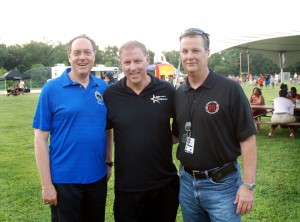 (From left) Union County Freeholder Bruce Bergen joined Acting Union County Sheriff Joseph Cryan and Union County Public Safety Director Andrew Moran at the National Night Out event hosted by the Union County Board of Chosen Freeholders on August 5 in Meisel Park in Springfield. National Night Out, sponsored by the National Association of Town Watch, is a campaign geared toward generating drug and crime awareness and prevention throughout the country. (Photo by Jim Lowney/County of Union)
