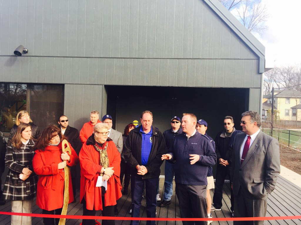 Union County Freeholder Chairman Christopher Hudak, Freeholder Bruce Bergen, and Freeholder Alexander Mirabella joined Garwood Councilwoman Sara Todisco, Council President Ann Tarantino, Mayor Pat Quattrocchi, Councilman Bill Neirstedt and Councilman Lou Petruzzelli and various members of the Garwood Baseball League at a ribbon cutting ceremony to mark the official opening of the Borough's new Sports and Recreation Complex.