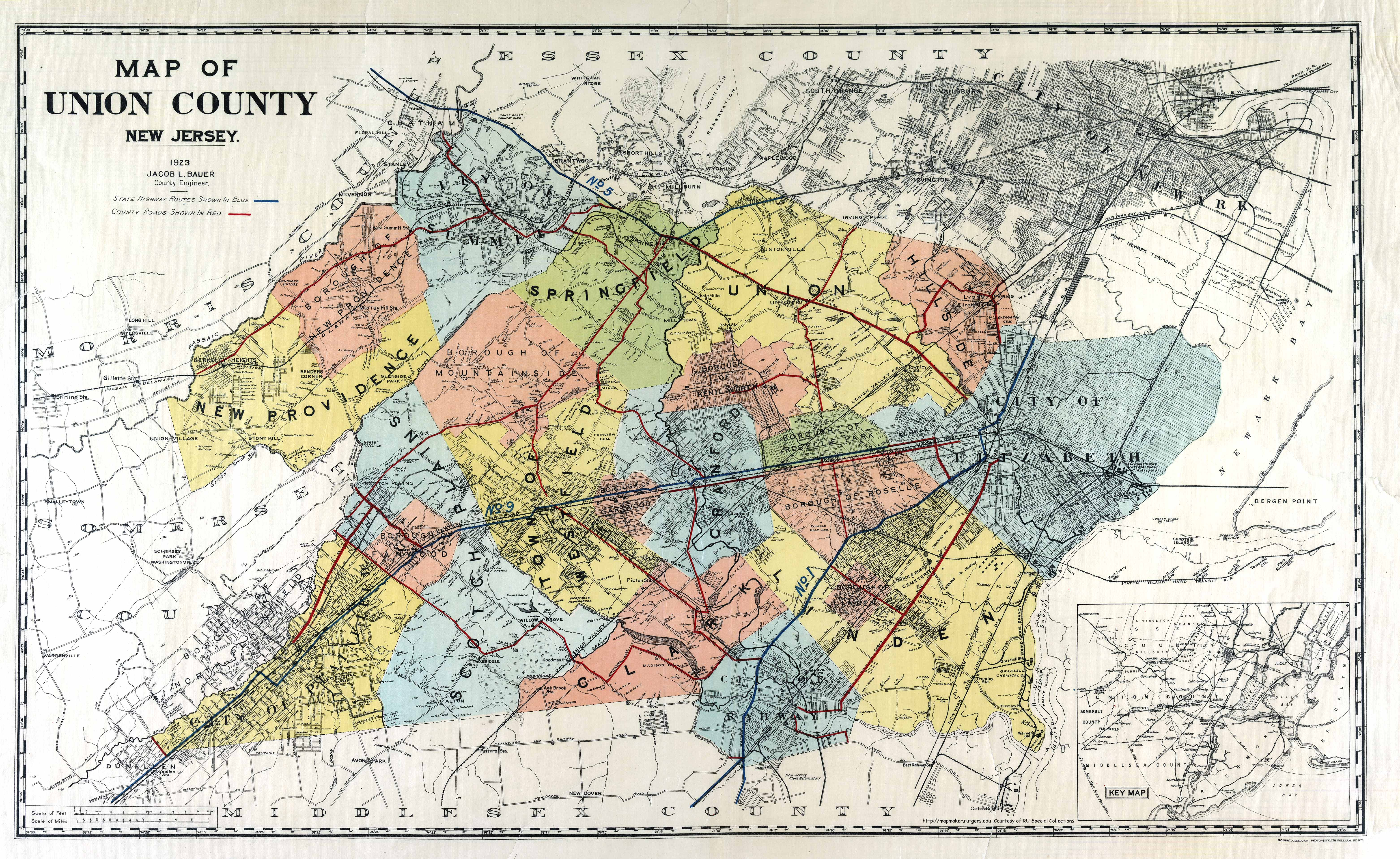 union county map 1923