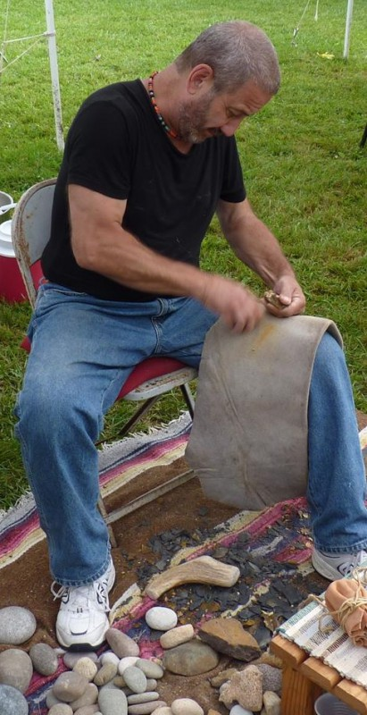 Jim Silk demonstrates flint-knapping and stone tool making techniques. The lithic specialist will be the featured speaker at the NJ Mineralogical Society meeting on Sunday, March 8 from 2:00 to 4:00 p.m. at the Trailside Nature and Science Center, 452 New Providence Road, Mountainside, NJ. The event is free. Families with children 12 years of age and older are welcome. Refreshments will be served. For more information, please call Joan Hoeckele, 908-232-2831.