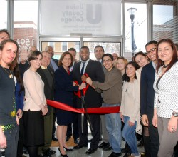 Union County Freeholder Chairman Mohamed S. Jalloh and Union County College President Dr. Margaret McMenamin cut the ribbon officially opening the new Union County College facility in Rahway. They were joined by Freeholder Sergio Granados, Rahway Mayor Samson Steinman, Union County Performing Arts Center (UCPAC) Board President Dr. Sondra Fishinger and Executive Director Dr. Lawrence McCullough, members of the College's Board of Trustees and Board of Governor and faculty, staff, and students. (Photo by Jim Lowney County of Union)
