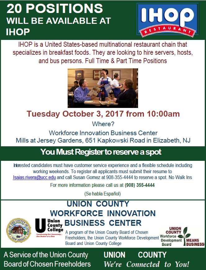 Job Fairs And Opportunities County Of Union New Jersey