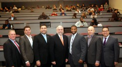 Union County Workforce Investment Board, AirServ and Union County officials gather before job fair: Union County Workforce Investment Board Chairman Glenn Nacion (of Trinitas Regional Medical Center), Salvador Garcia, member of the Union County Workforce Investment Board (MAS Development), Freeholder Sergio Granados (Freeholder Liaison to the Workforce Investment Board), Martin C. Blake, Senior Vice President for AirServ,  Union County Freeholder Chairman Mohamed S. Jalloh (Freeholder Liaison to the  Workforce Investment Board), Antonio Rivera, Director of the Union County Workforce Investment Board, and William Reyes Jr. , Union County Deputy County Manager.