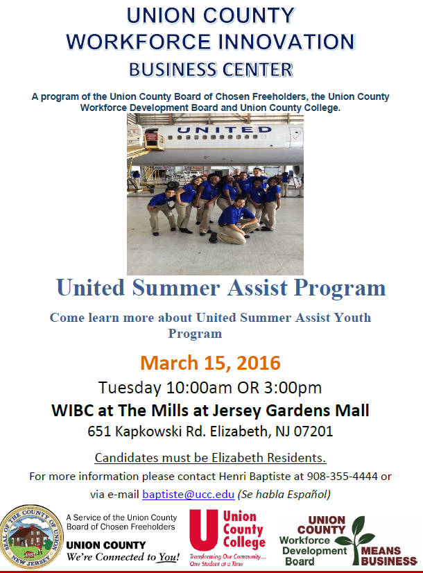United Airlines Summer Assist Program – County of Union, New