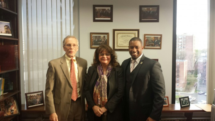 l. to r. Human Services Director Frank Guzzo, Community Coordinated Child Care of Rahway Executive Director Executive Director Pat Mennuti, and  Freeholder Chairman Mohamed S. Jalloh mark the authorization of a pilot Child Care pilot program for Union County.  The program is an initiative of Chairman Jalloh.