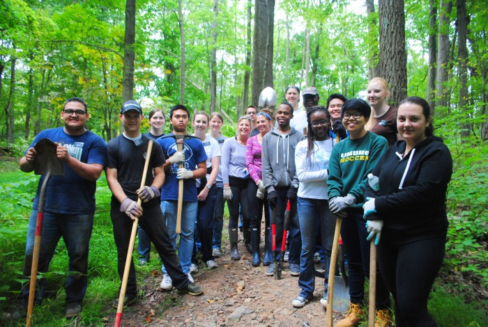 MOUNTAINSIDE, NJ – Trail work participants take a well deserved break after working to install trail steps in the Watchung Reservation. To register for trail work on National Trails Day, June 6, please call 908-789-3683 or e-mail: bkelly@ucnj.org .