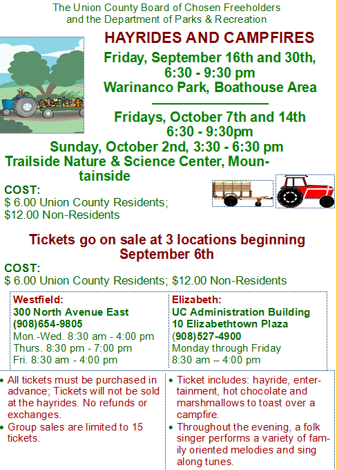 Hayrides Campfires County Of Union New Jersey