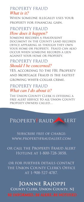 Property fraud alert card front