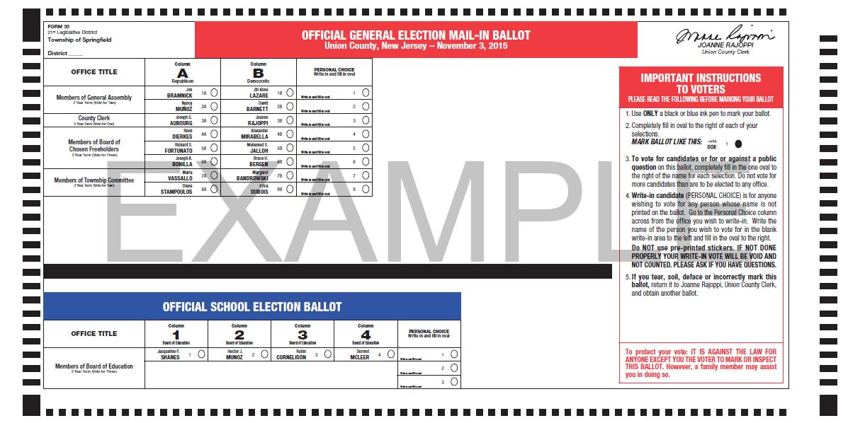 Typical example of the new Vote-by-Mail ballot in English.
