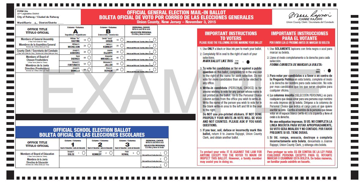 Typical example of the new Vote-by-Mail ballot in Spanish.