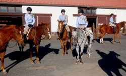 Riders prepare for opening of 82nd Annual Fall troop show at the Watchung Stables in Mountainside.