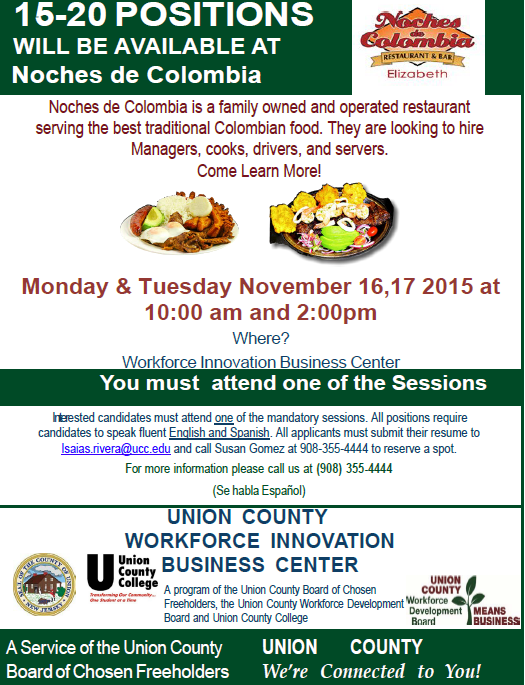 15 20 positions available at noches de colombia county of union jobs forumfinder Choice Image