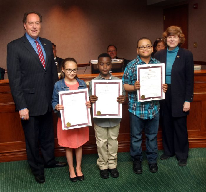 (From 2nd left) Miriam Walsh from the Holy Trinity School in Westfield won first place. Devon from the Franklin Elementary School in Union won second place. Asher Wallace from the Franklin Elementary School in Union won third place.