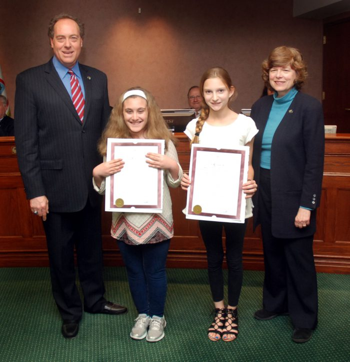 (From 2nd left) Alissa Stotz from the Lincoln School in Garwood won first place.  Natalie McBride from the Carl H. Kumpf Middle School in Clark won third place.