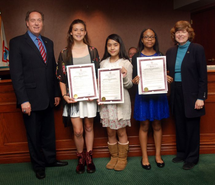 (From 2nd left) Anya Nordstrom from the Lincoln School in Garwood won first place. Jade Condez from St. John the Apostle in Clark won second place. Chidinma Chigozie-Nwo from the Walter O. Krumbiegel Middle School in Hillside won third place.