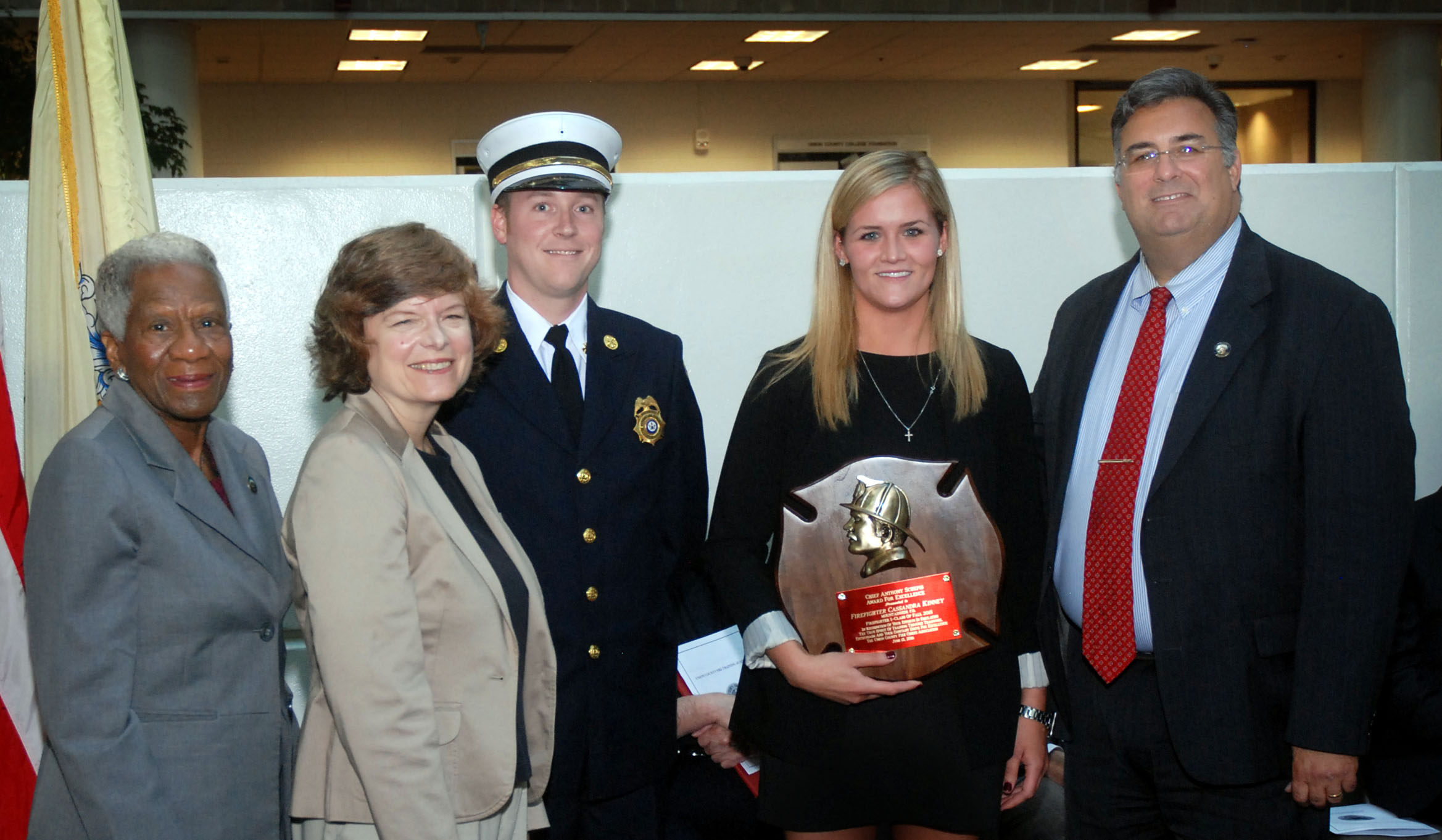 New jersey union county cranford - Union County Freeholders Vernell Wright Bette Jane Kowalski And Alexander Mirabella Congratulate Cassandra Kinney Of The Mountainside Fire Department On