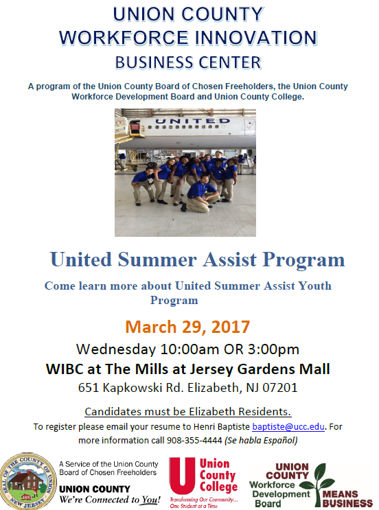 United Summer Assist Program – County of Union, New Jersey