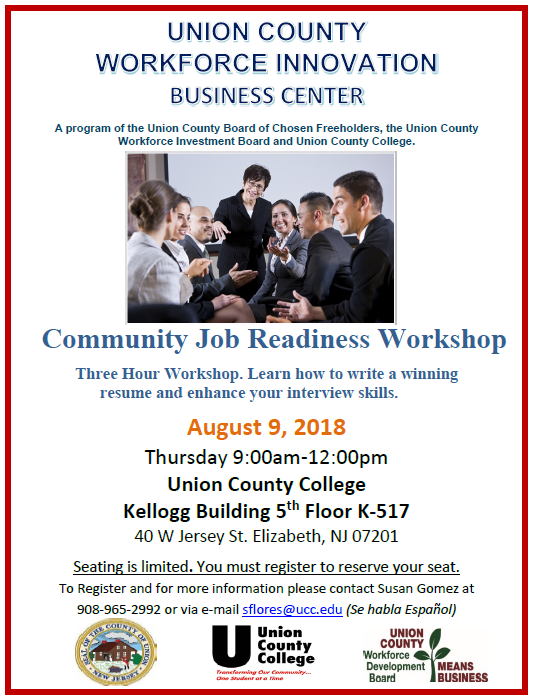Free Resume And Interview Workshop For Union County Job Seekers