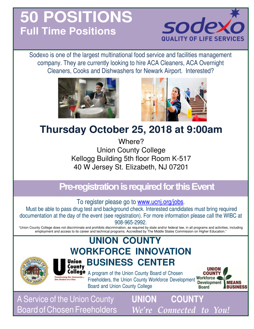 Job Fairs and Opportunities – County of Union, New Jersey